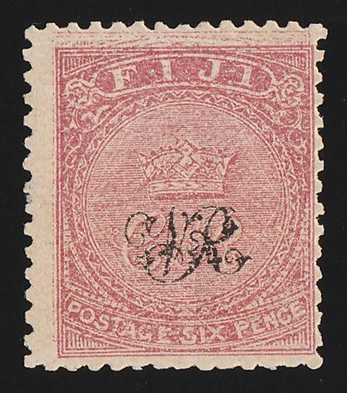 FIJI : 1876 'VR' opt 6d carmine-rose, wove paper, error design DOUBLE. RARE !