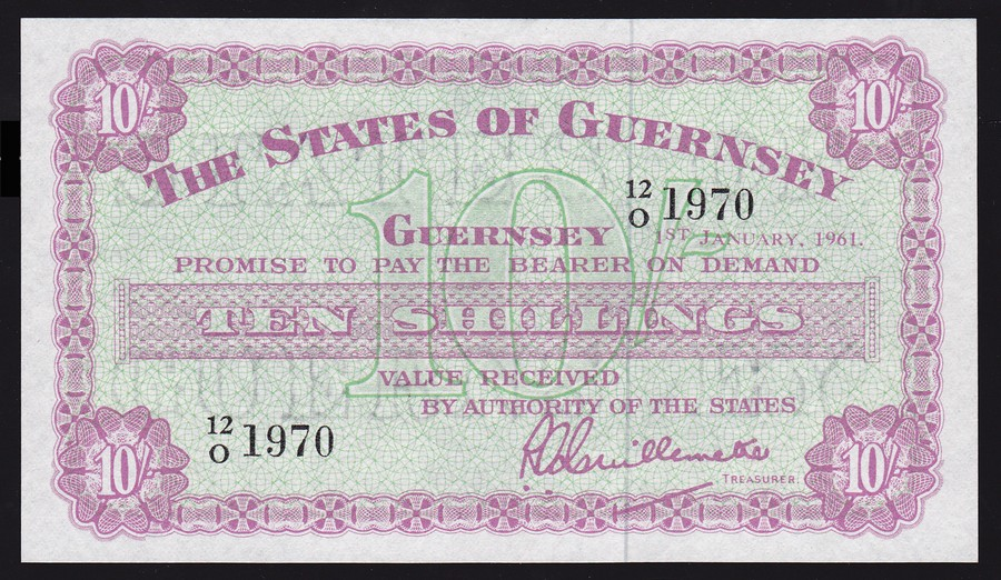 GUERNSEY 10/- 1-1-1961 States of Guernsey British Administration. P-42b