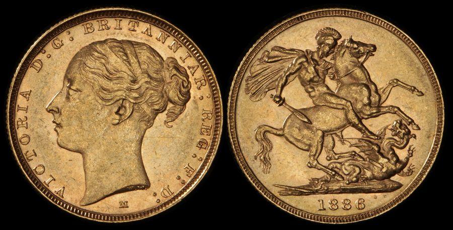 AUSTRALIA-1886M-QV-Young-head-St-George-Sovereign-Gold-UNC