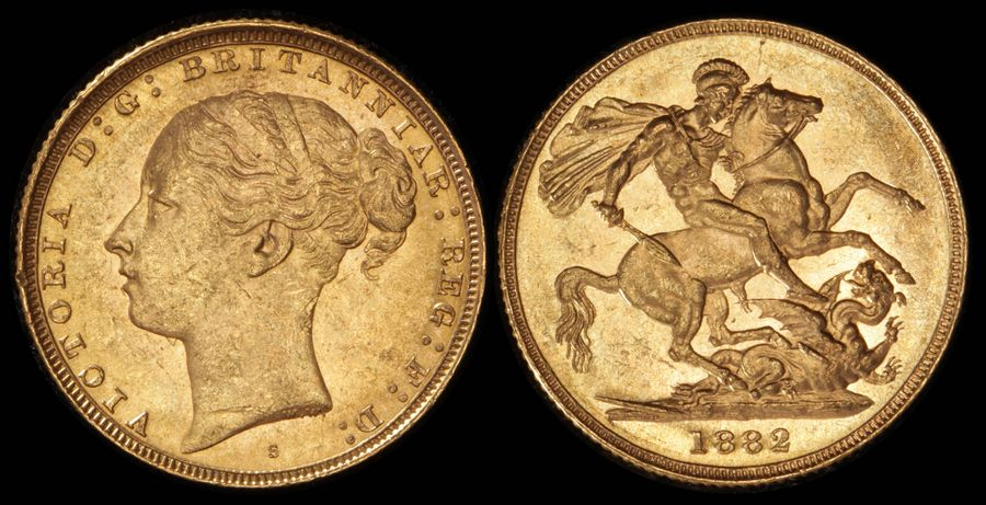 AUSTRALIA 1882S QV Young head St George Sovereign. Gold. Fully lustrous UNC.