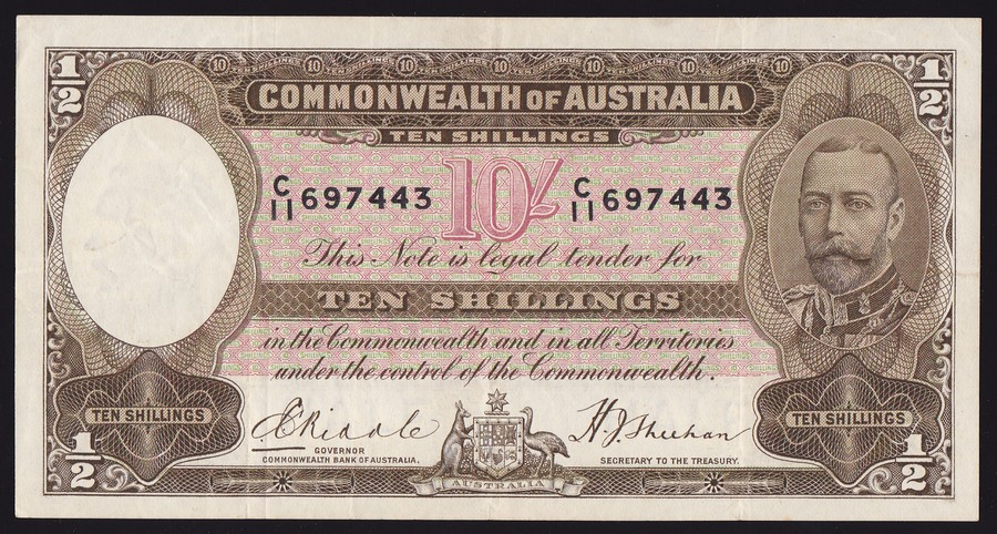 AUSTRALIA-10-Riddle-Sheehan-brown-legal-tender-R-9-Attractive-amp-scarce