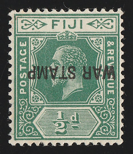 FIJI : 1915 WAR STAMP KGV ½d INVERTED. Rare error . Only 1 sheet printed.