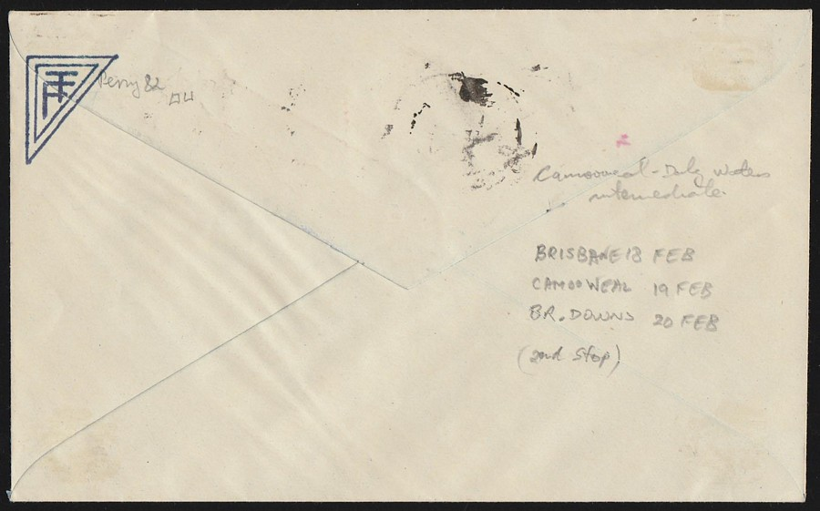AUSTRALIA-1930-Camooweal-Brunette-Downs-1st-Flight-Cover-Signed-by-Pilot thumbnail 2