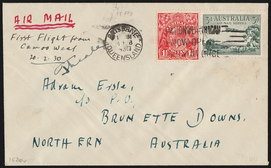 AUSTRALIA-1930-Camooweal-Brunette-Downs-1st-Flight-Cover-Signed-by-Pilot