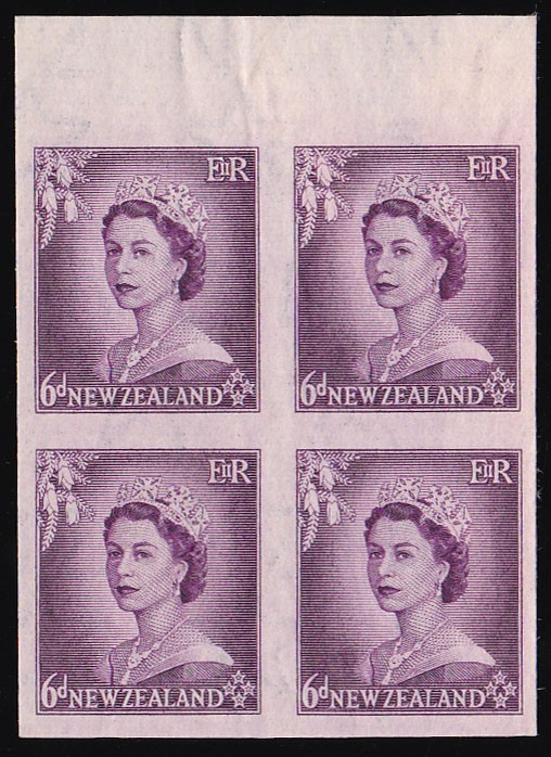 NEW ZEALAND 1953 QEII 6d IMPERF block ONLY 1 SHEET RECORDED!