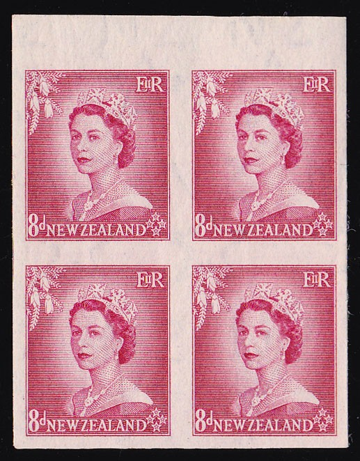 NEW ZEALAND 1953 QEII 8d IMPERF block ONLY 1 SHEET RECORDED!