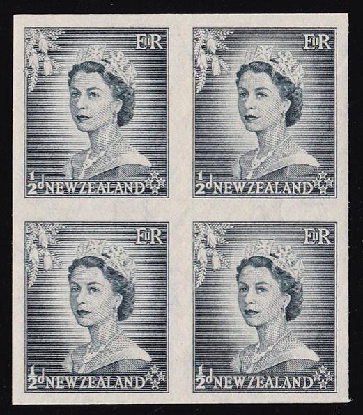 NEW ZEALAND 1953 QEII ½d IMPERF block MNH **