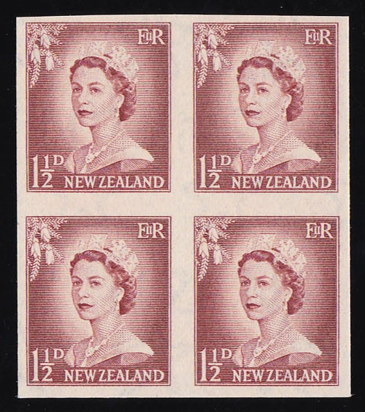 NEW ZEALAND 1955 QEII 1½d IMPERF block MNH ** ONLY 1 SHEET RECORDED!