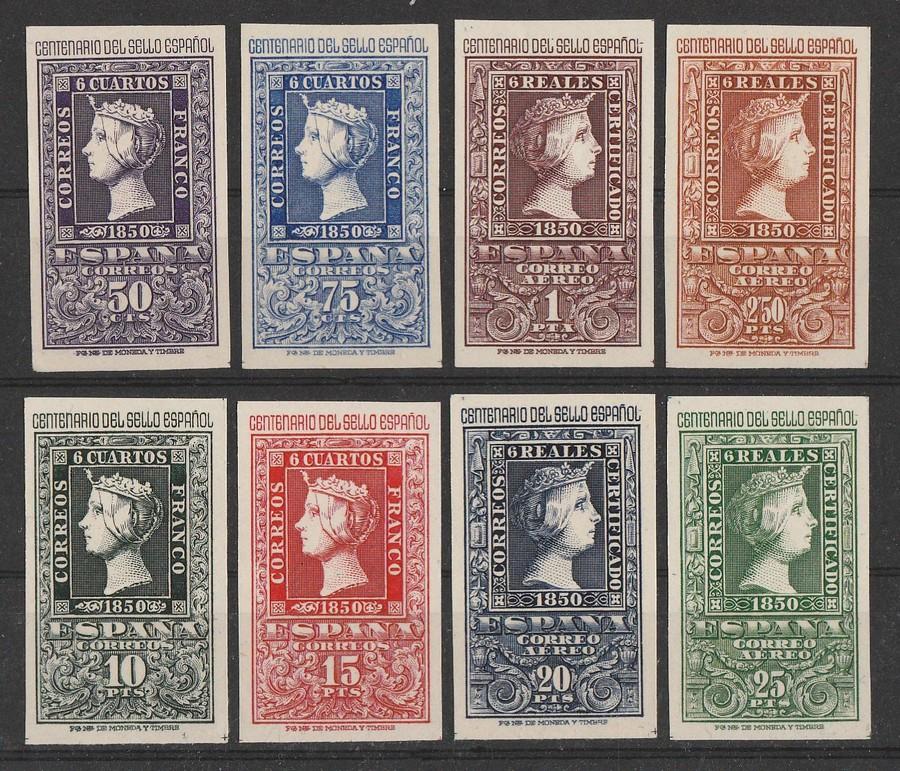 SPAIN : 1950 Stamp Centenary set 50c-25P imperf. MNH **.