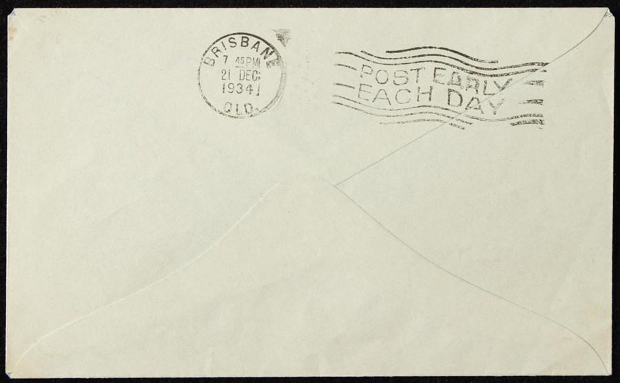 AUSTRALIA-1934-KGV-OS-5d-Darwin-Brisbane-intermediate-First-Flight-Cover thumbnail 2