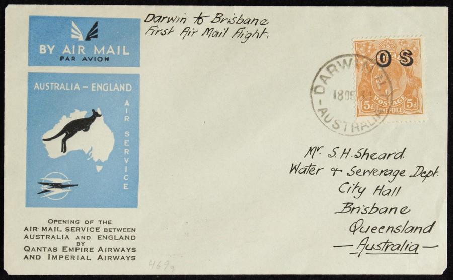 AUSTRALIA-1934-KGV-OS-5d-Darwin-Brisbane-intermediate-First-Flight-Cover