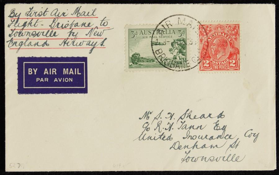 AUSTRALIA-1935-Brisbane-Townsville-First-Flight-Cover