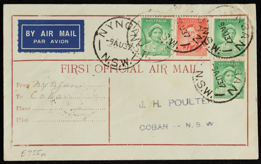 AUSTRALIA-1937-Nyngan-Cobar-intermediate-First-Flight-Cover thumbnail 1