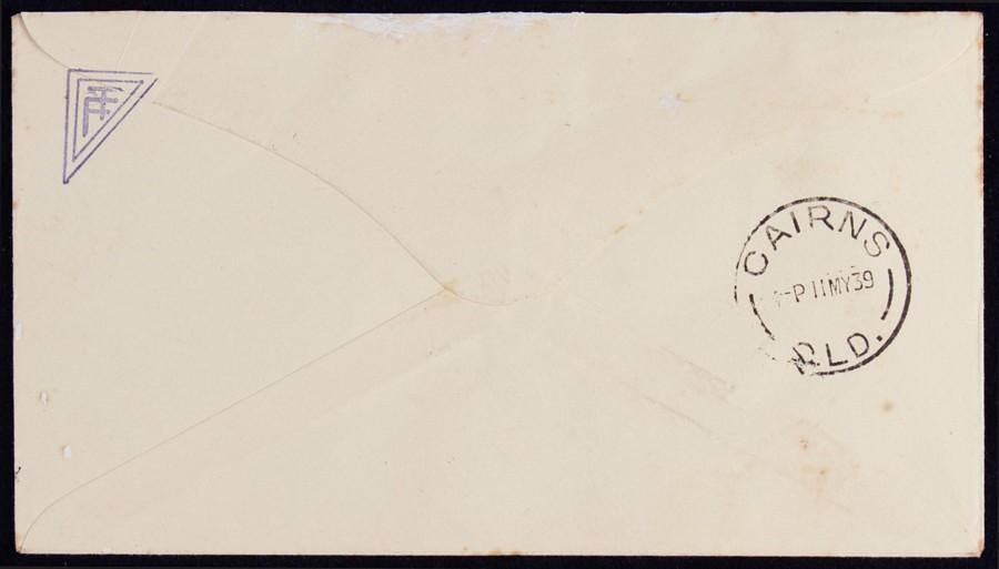 AUSTRALIA-1939-Cairns-Batavia-Qld-First-Flight-Cover-Signed-by-pilot-AAMC-858 thumbnail 2