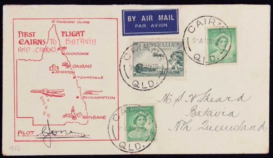 AUSTRALIA-1939-Cairns-Batavia-Qld-First-Flight-Cover-Signed-by-pilot-AAMC-858