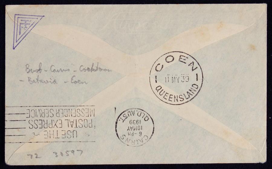 AUSTRALIA-1939-Brisbane-Coen-First-Flight-Cover-AAMC-859-var-Only-55-flown thumbnail 2