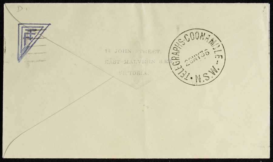 AUSTRALIA-1936-Melbourne-Coonamble-intermediate-First-Flight-Cover thumbnail 2