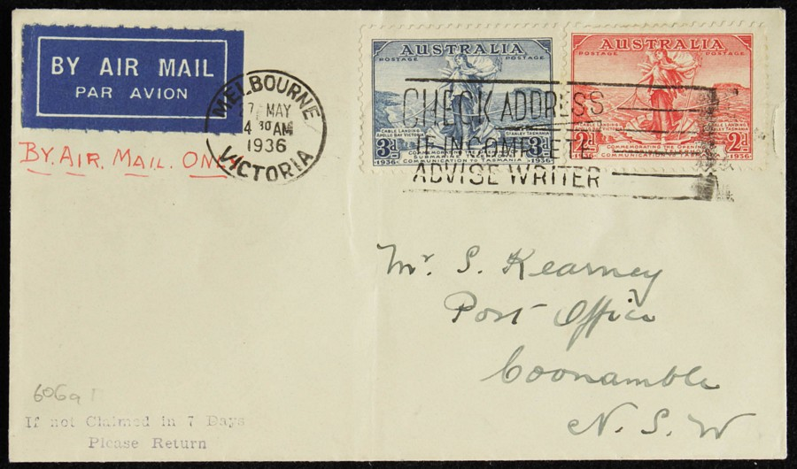 AUSTRALIA-1936-Melbourne-Coonamble-intermediate-First-Flight-Cover