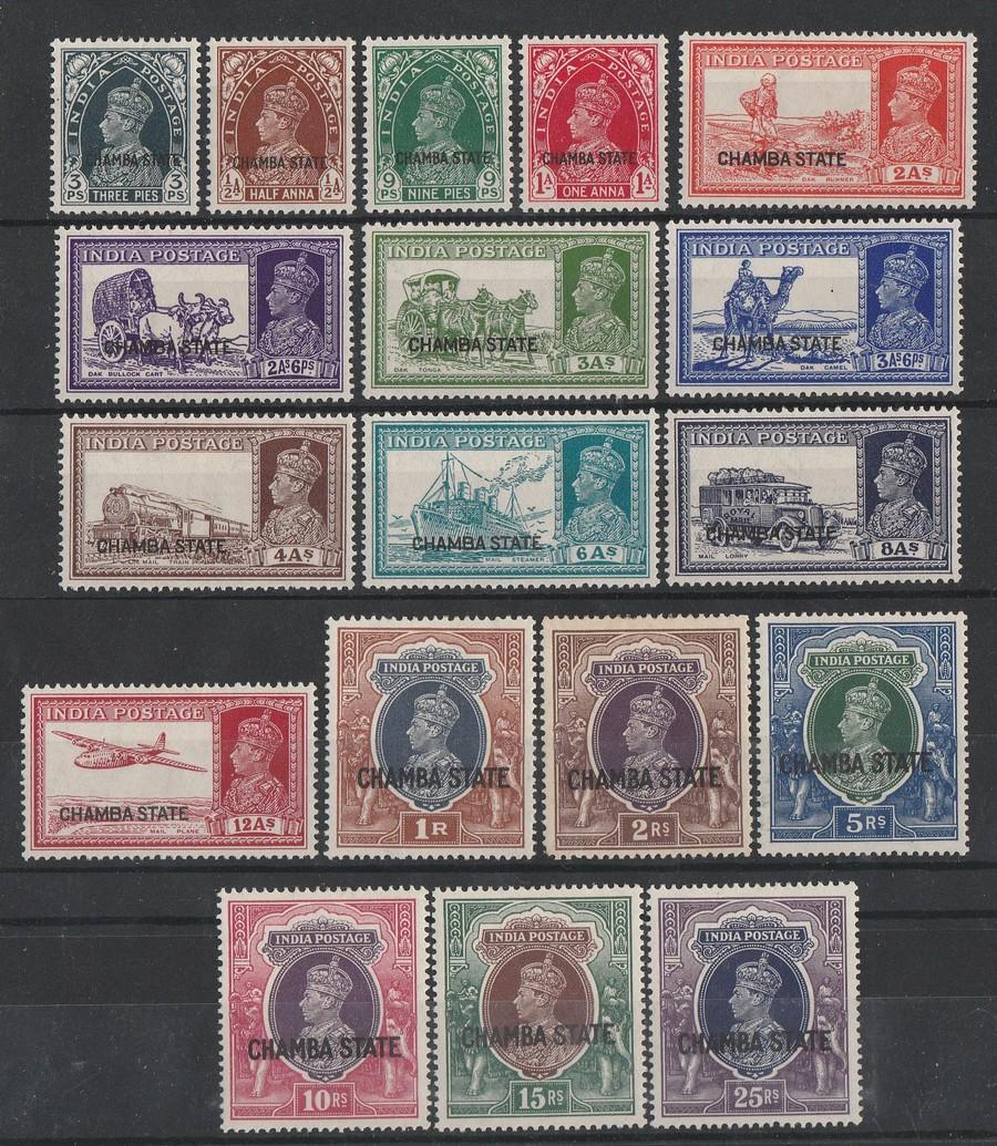 INDIAN STATES - CHAMBA : 1938 'CHAMBA STATE' on KGVI Pic set 3p-25R.