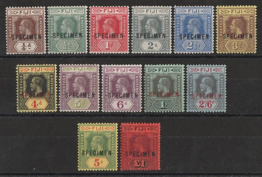 FIJI : 1912 KEVII set ¼d-£1, wmk mult crown, SPECIMEN. RARE!