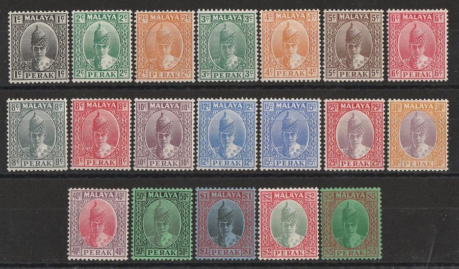 MALAYA - STATES PERAK : 1938 Sultan set 1c-$5.