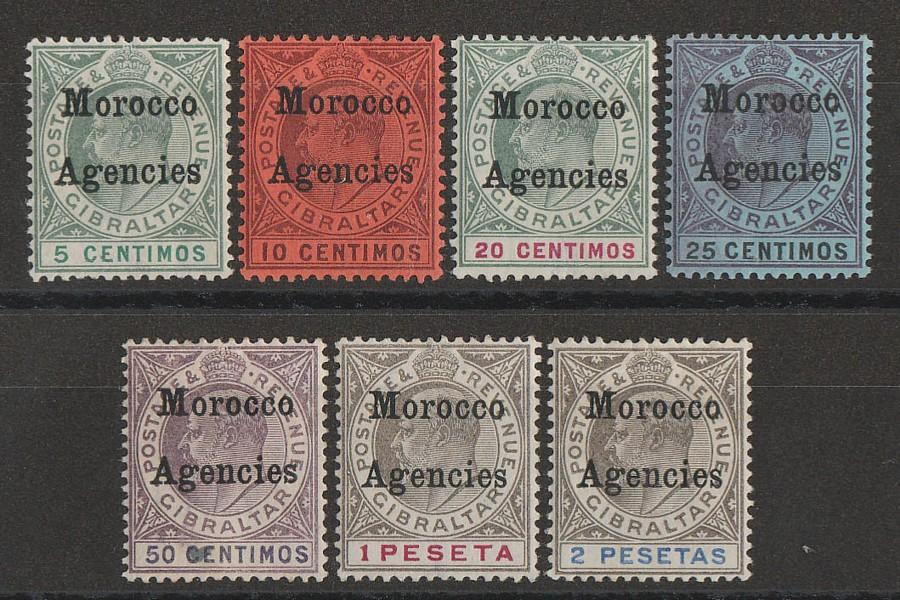 MOROCCO AGENCIES 1903 KEVII Gibraltar set 5c-2P, wmk crown CA.