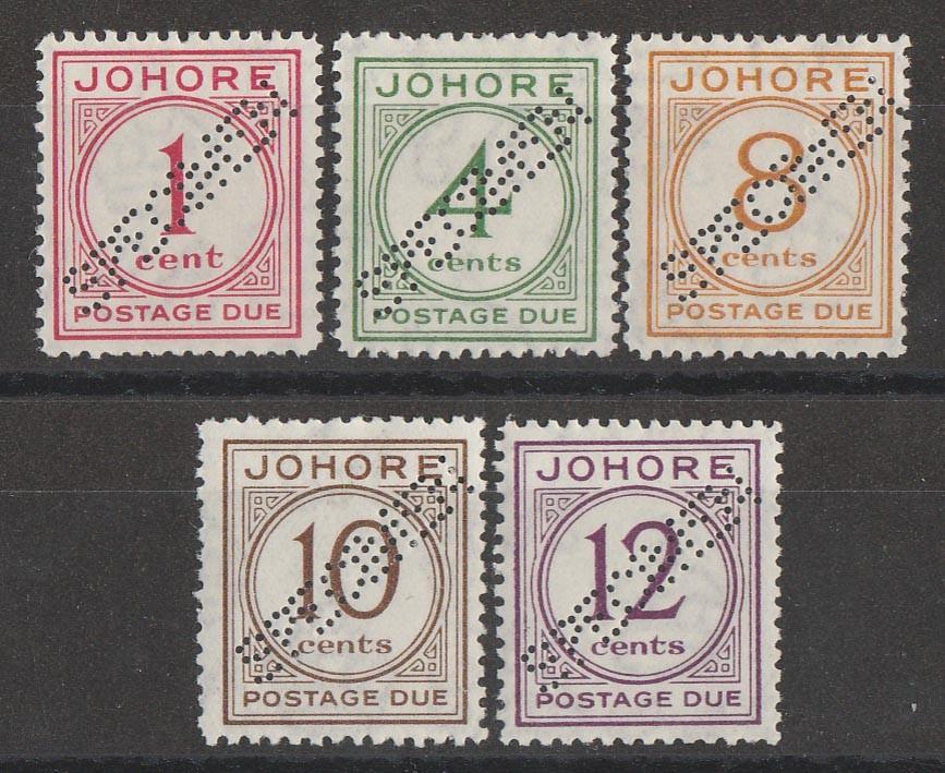 MALAYA - STATES JOHORE : 1938 Postage Due set 1c-12c, SPECIMEN.