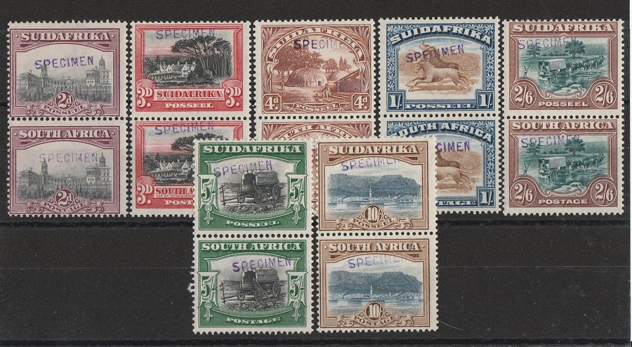 SOUTH AFRICA : 1927 Pictorial set 2d to 10/-, bilingual pairs, SPECIMEN. RARE!