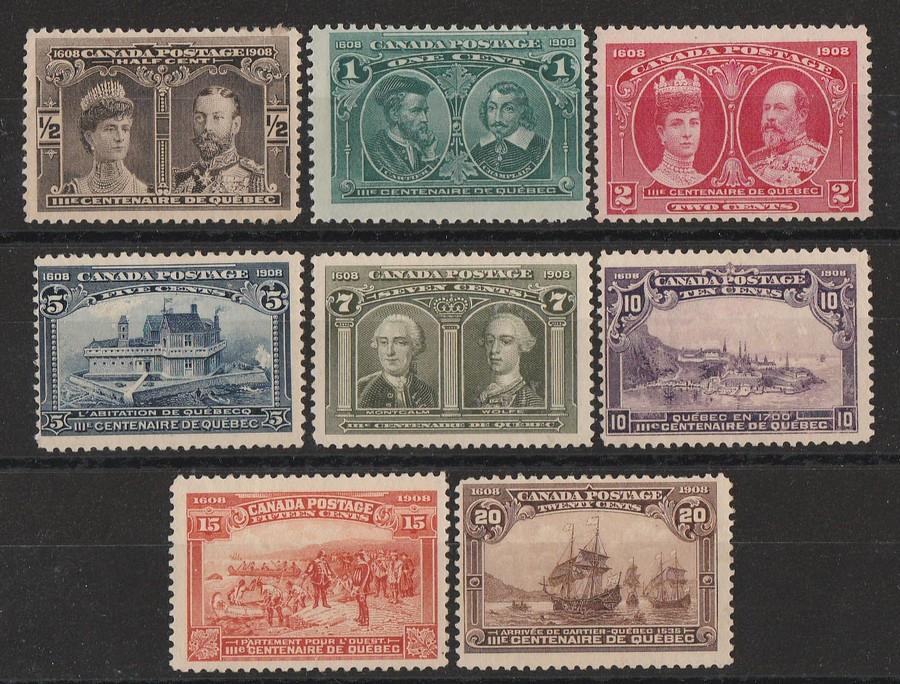 CANADA : 1908 Tercentenary set ½c-20c. Unitrade 96-103 cat C$1585.