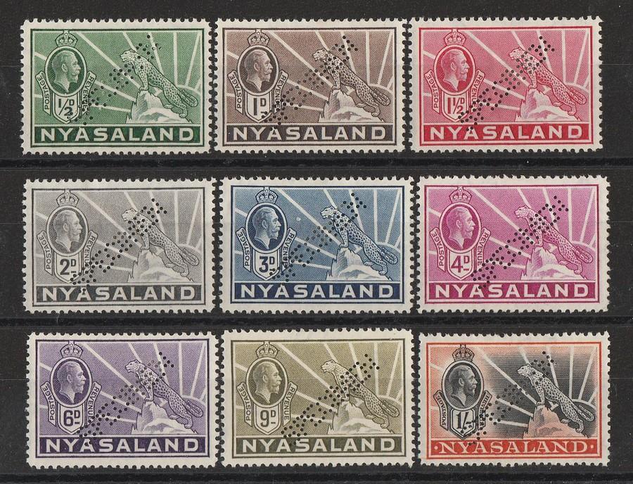 NYASALAND : 1934 KGV Leopard set ½d to 1/-, SPECIMEN