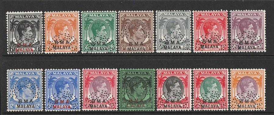 MALAYA - BMA : 1945 KGVI set 1c-$5, SPECIMEN. VERY RARE GENUINE!