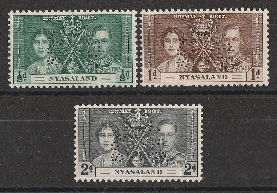 NYASALAND : 1937 KGVI Coronation set ½d-2d, SPECIMEN.