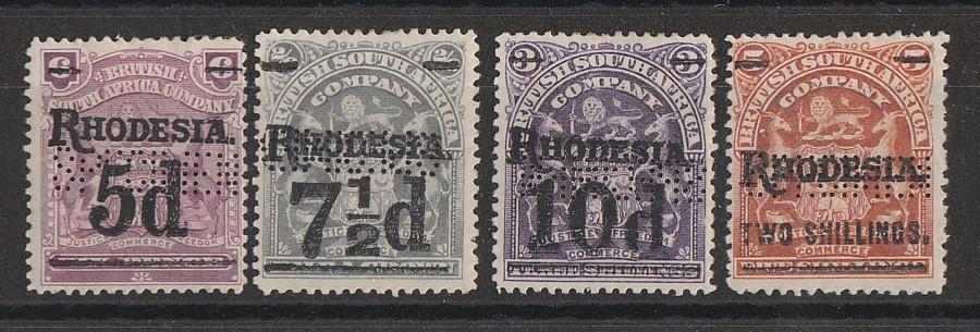 RHODESIA : 1909 RHODESIA on Arms Surcharge set SPECIMEN