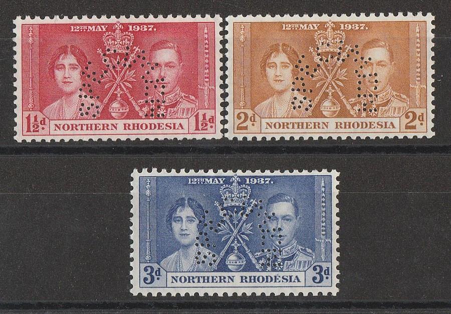 NORTHERN RHODESIA : 1937 KGVI Coronation set 1½d-3d, SPECIMEN.