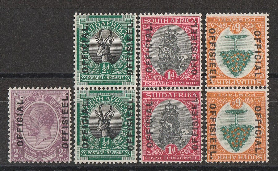 SOUTH AFRICA : 1926 'OFFICIAL-OFFISIEL' on KGV Pictorial set London printing