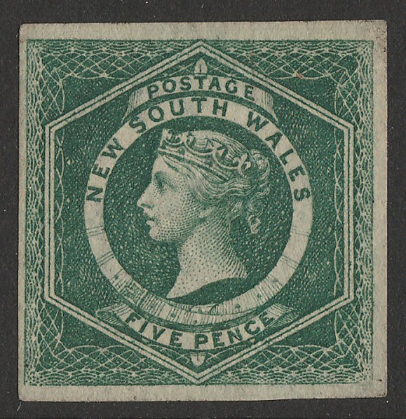 NEW SOUTH WALES 1854 QV Diadem 5d dull green, imperf. RARE with CERTIFICATE.