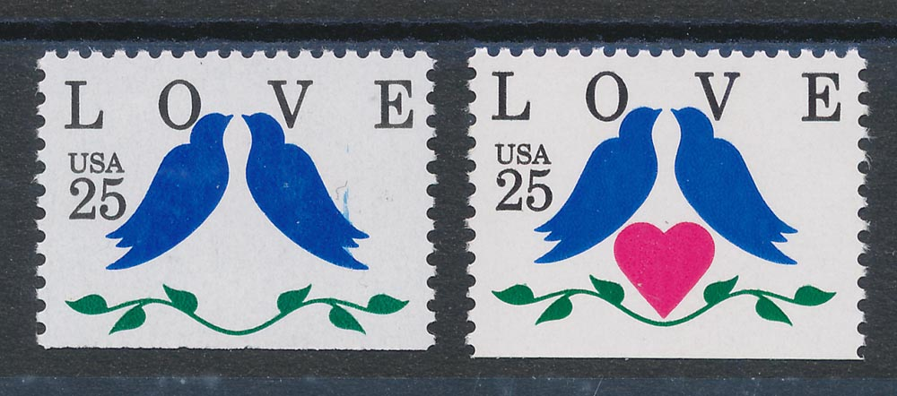 UNITED STATES : 1990 Love 25c booklet, error bright pink (heart) OMITTED. MNH **