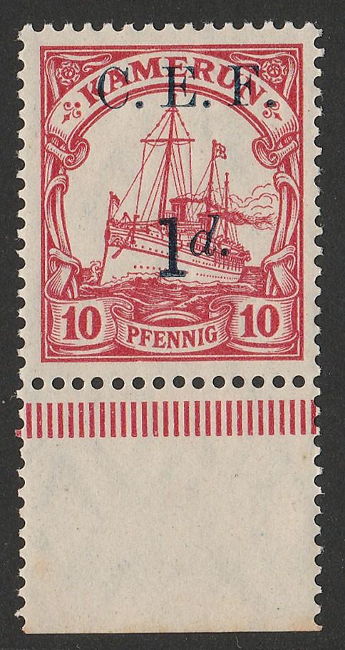CAMEROON - CEF : 1915 Yacht 10pf error DOUBLE ALBINO MNH **