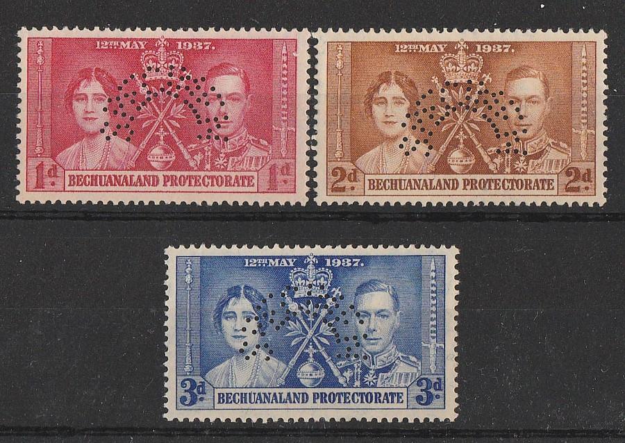 BECHUANALAND : 1937 KGVI Coronation set 1d-3d, SPECIMEN. MNH **.