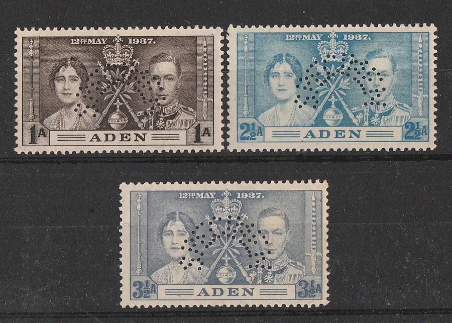 ADEN : 1937 KGVI Coronation set 1a-3½d SPECIMEN. MNH **. Scarce