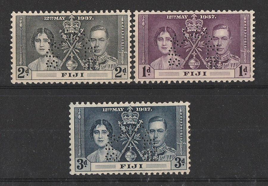 FIJI : 1937 KGVI Coronation set 1d-3d SPECIMEN. MNH **.