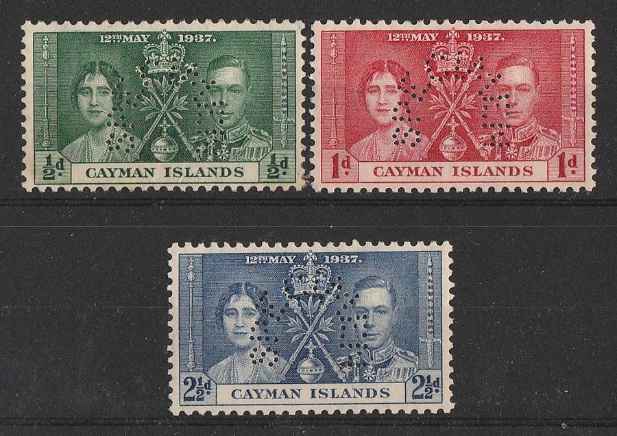 CAYMAN ISLANDS : 1937 KGVI Coronation set ½d-2½d SPECIMEN. MNH **.