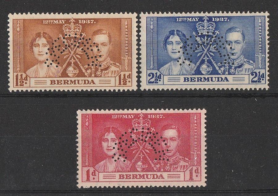 BERMUDA : 1937 KGVI Coronation set 1d-2½d, SPECIMEN. MNH **.