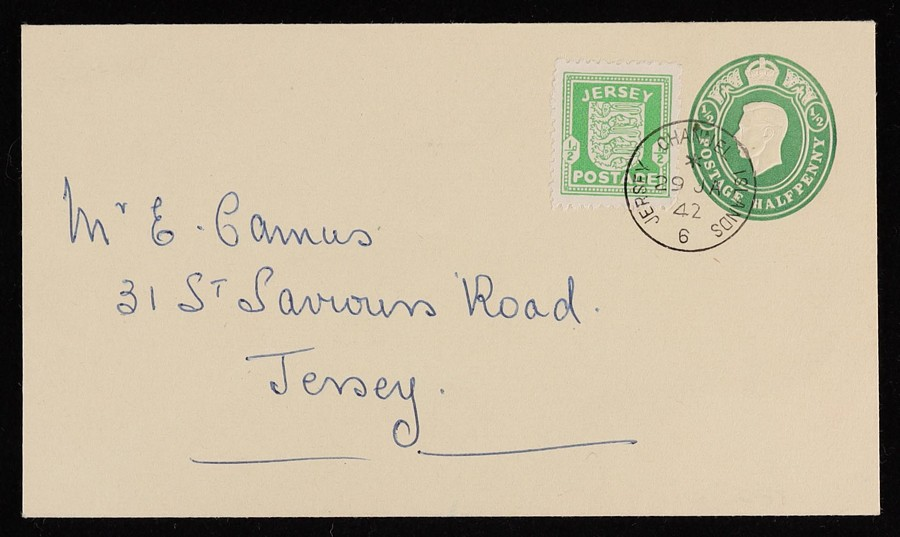 GREAT BRITAIN - JERSEY 1942 German Occup use of KGVI ½d green Envelope FDC.