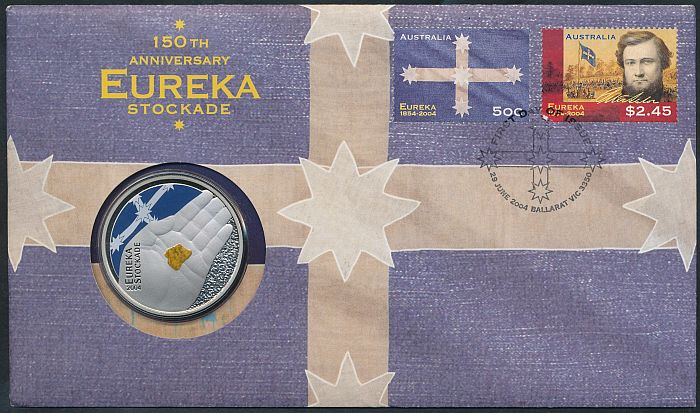 Australia-2004-Eureka-Stockade-5-PNC-Cat-25-FIRST-colored-coin-PNC-EXCLUSIVE